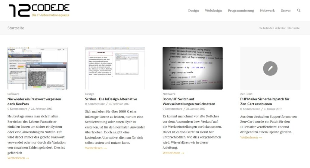 Screenshot Webseite 12code.de